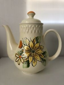 Sarasota By Shafford Japan 17cm Tall Yellow Teapot Flowers Orange Butterfly