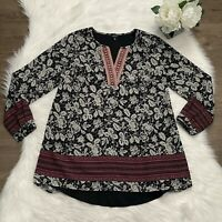 J Peterman Sz Small Embroidered V Neck Tunic Top Floral Embellished Loose Fit