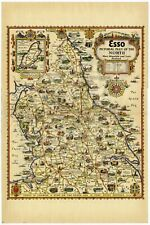 1932 Map PICTORIAL PLAN Northumberland DURHAM Yorkshire LANCS Lakes LINCS etc.