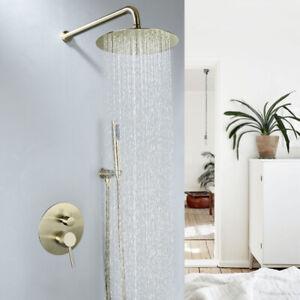 "Brushed Gold Brass Bathroom 8"" Shower Set Rainfall Head Bath Faucet Valve Tap"