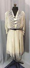 1930S VINTAGE DRESS SHEER WHITE & BLACK POLKA DOT VINTAGE CLOTHING M 36-38 BUST