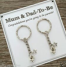 Mum-to-be & Dad-to-be pregnancy baby charm keyrings - baby shower gift