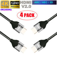 4 x 3ft 1m HDMI Cable 3D HD 4K 2160p 1080p High Speed with Ethernet HEC ARC V2.0