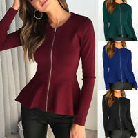 Women Casual Long Sleeve Jacket Zip Up Ladies Cardigan Blazer Outwear Coat Tops
