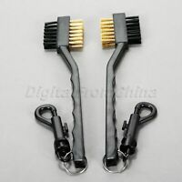 2Pcs Sided Brass Wires Nylon Golf Club Brush Groove Ball Cleaner Clip Kit Tool