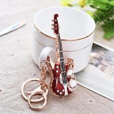Charm Guitar Key chain ring Music Crystal Keychain Keyring Rhinestone Pendant