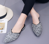 2a8a14b79a7 Womens Bling Sequins Pointy Toe Loafer Oxford Slip On Slipper Flat Heel  Shoes