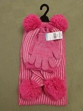 Girls Warm Winter Pink Hat, Gloves & Scarf Set ~ New With Tags!
