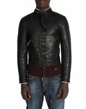 Dsquared2 men's shearling leather black zipped bomber jacket NEW size 48 or S US