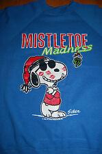 Vtg 1980s Peanuts Snoopy Mistletoe Madness Christmas Holiday Sweatshirt Usa S
