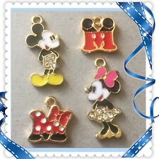 Lot Of 4 Disney Mickey And Minnie  Metal Charms With Crystals , Brand New #22