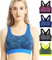 Lot 1 3 6 Womens Seamless Racerback Pullover Sports Bras Padded WireFree Workout