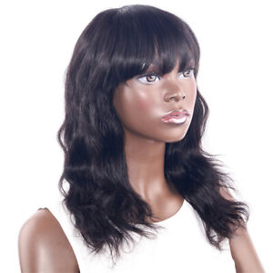 100% Human Hair Body Wave None Lace Wig With Bangs 20inch Brazilian hair Wigs