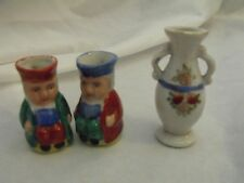 """Occupied Japan Miniature Toby Mugs (2) & Vase, 2-3"""" High, Lot of 3, All Mkd"""