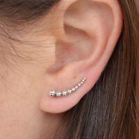 Simple Minimalist .925Sterling Silver Granulation Ear Climbers
