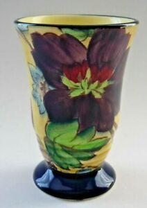 Art Deco 1930's Roskyl British Pottery Yellow Floral Pedestal Vase
