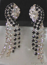 Sexy Sleek Long Black & Clear Rhinestone Fashion Earrings