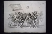 Incisione d'allegoria e satira Roma, Italia, Libertà Don Pirlone 1851