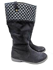 EXPRESS Women's Tall Boots SIZE 10 M BLACK QUILTED FABRIC FAUX LEATHER