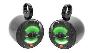 "(2) JBL MS8LB 450 Watt 8"" Black LED Marine Wakeboard Tower Boat Speakers"