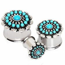 "PAIR-Turquoise Flower Steel Double Flare Plugs 14mm/9/16"" Gauge Body Jewelry"