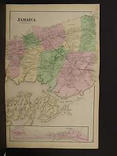 New York Long Island Map 1873 Jamaica, Rockaway Beach, Double Page N3#97