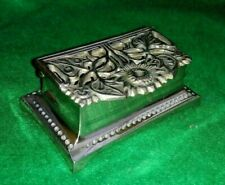 Vintage Brass Stamp Box / His & Her ring box with sunflower design