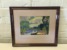 Possibly Vintage Oil Painting Landscape w/ Body of Water & Clouds