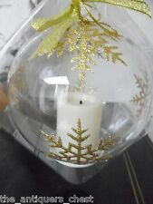 Candle Impressions Glass Ornament with Gold or silver Glitter Snowflakes[4box]