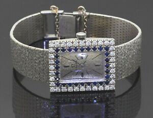 Omega vintage 18K WG 2.36CT VS1/F diamond Blue sapphire ladies mechanical watch
