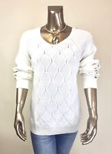 TOMMY-HILFIGER *NWT (2X) CREAM COTTON  LONG-SLV SWEATERS TOP $96