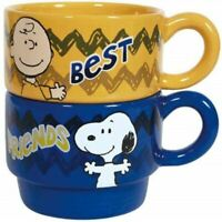 Peanuts Best Friends Stackable Yellow and Blue 6 oz Ceramic Coffee Mugs, NEW