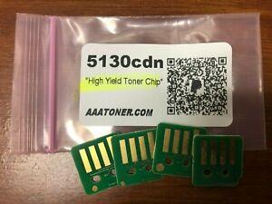 4 x High Yield Toner Reset Chip for Dell 5130cdn Color Laser Printer Refill