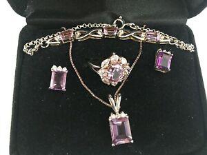 Amethyst Necklace, Earring, Ring & Bracelet Set Sterling Silver