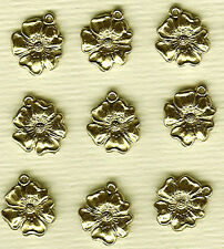 16 Vintage French Guyot Brass Stamped Flower Charms 12mm