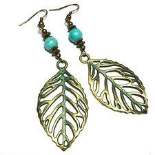 Bronze Leaf Earrings Turquoise Gemstone Long Drop Dangle Pierced Hook or Clip On