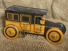 Antique Windup 1920s Yellow Taxi Tel. Main 6524, J. Chein Tin Car Working!
