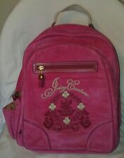 Juicy Couture Hot Pink Velour Velvet Backpack Laptop Book Bag Bright NWOT