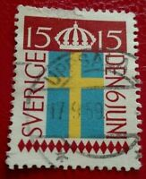 Sweden:1955 Swedish Flag Day 15 ÖRE. Rare & Collectible Stamp.