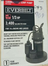 EVERBILT 1/3 HP Aluminum Submersible Sump Pump with Tether 1001093909 SBA033BC