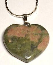 "Silver Green Jasper Heart Necklace 18"" Red Natural Gemstone Valentines Day Gift"