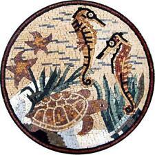 Sea Creatures Mosaic Medallion Mosaic Designs Marine Life&Nautical Mosaic Tile