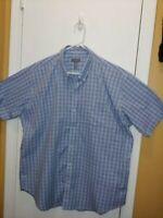 New Van Heusen Premium No Iron Short Sleeve Button Front Blue Shirt Mens Large