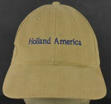 Beige Holland America Line Embroidered Baseball Hat Cap Adjustable Leather Strap