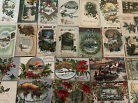 ~Lot of 25 Christmas Holiday Postcards with Winter Snowy Scenes ~Holly~-a924