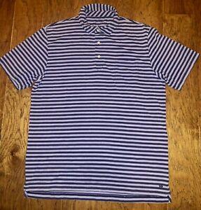 PETER MILLAR SEASIDE WASH Purple Striped SS  Cotton Blend Polo Golf Shirt Size M