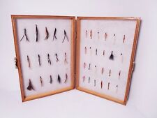 Vintage Wooden Foam Lined Reservoir Fly Box Stuffed with Various Trout Flies -