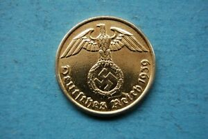 GERMANY - 1939 TWO (2) REICHSPFENNIG GOLD PLATED COIN