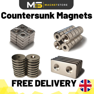Strong Neodymium Countersunk Magnets Big & Small Disc & Blocks From 4mm to 40mm