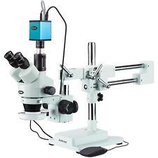 Amscope 35x 90x Trinocular Stereo Microscope Af Camera 144 Led Ring Light